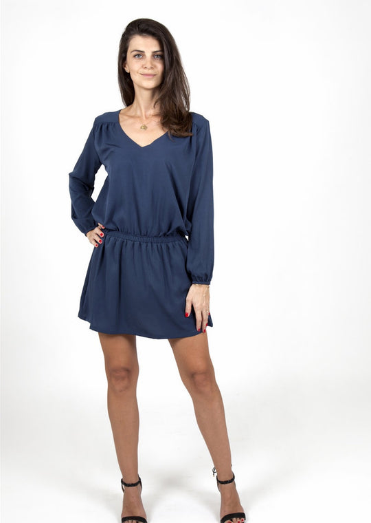 dark blue silk dress