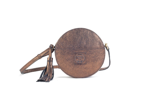Darling Moon Bronze Leather Circle Bag Virginie Darling - Handbag Virginie Darling