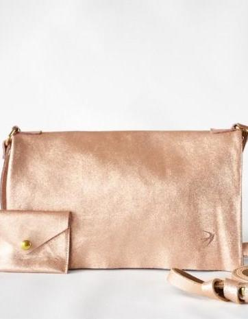 Emma Copper Leather Clutch With Flap Maison Jeanne - Clutch Maison Jeanne