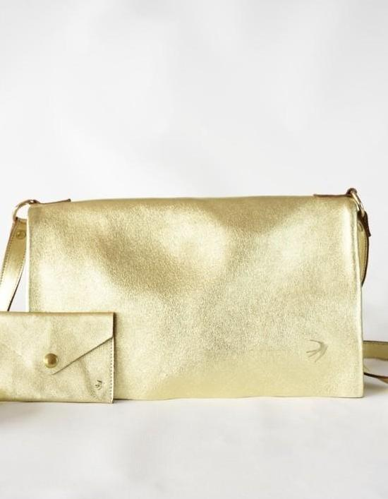 Emma Gold Leather Clutch With Flap Maison Jeanne - Clutch