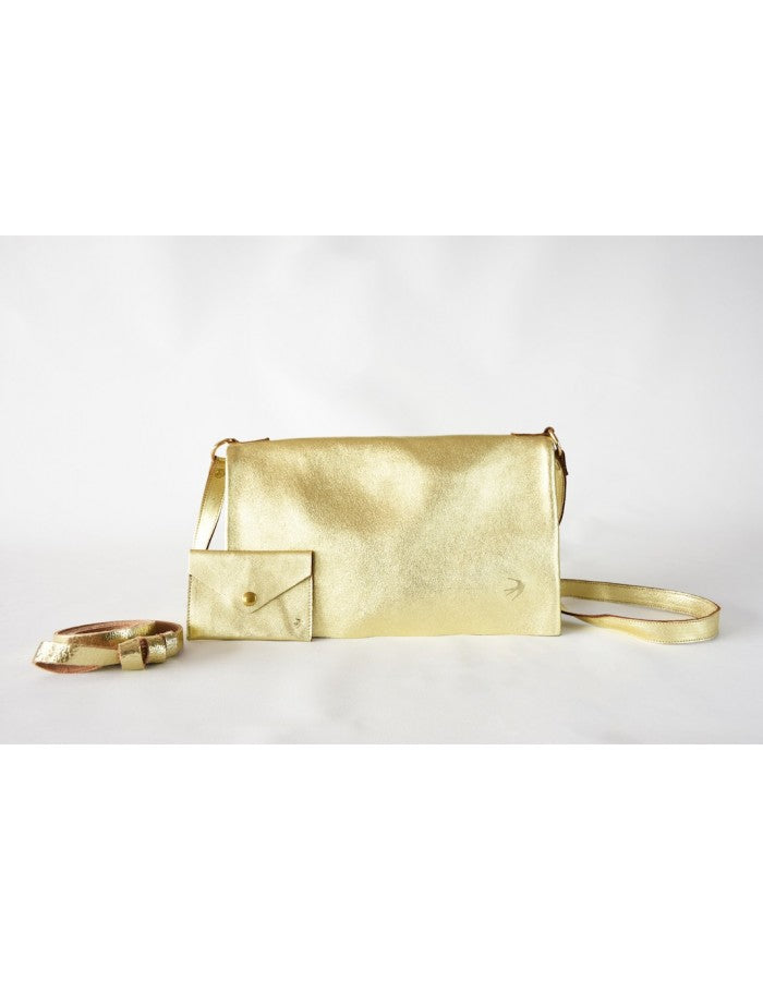 Emma Gold Leather Clutch With Flap Maison Jeanne - Clutch Maison Jeanne