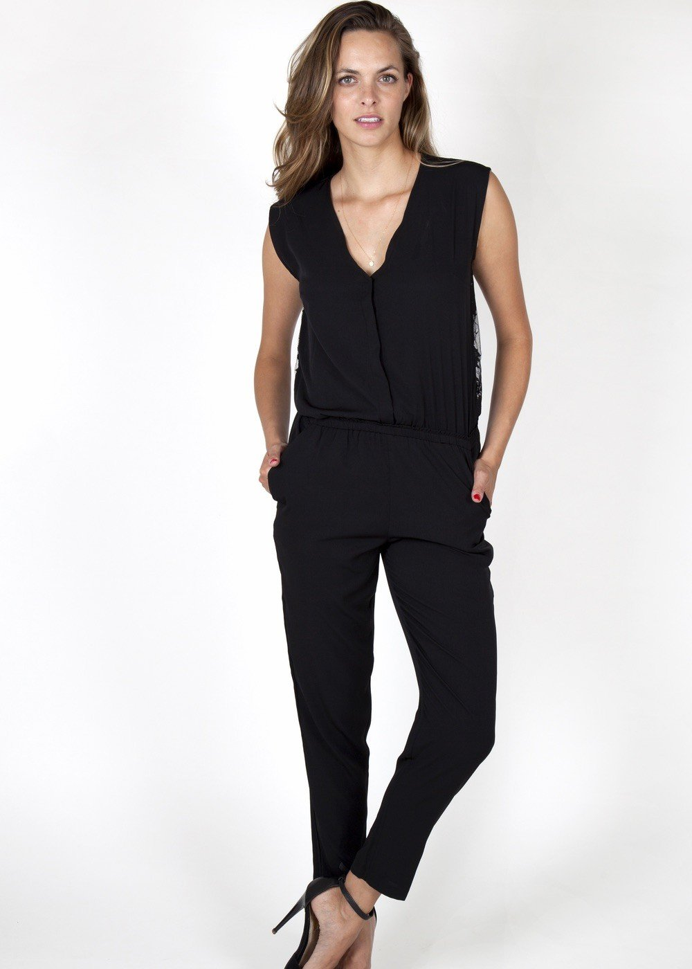 evening jumpsuits black lace