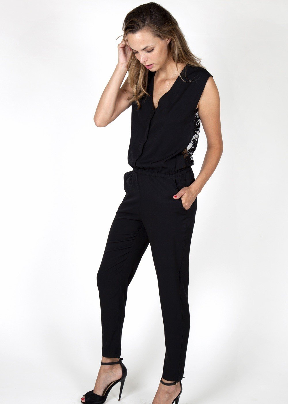 formal jumpsuits black lace