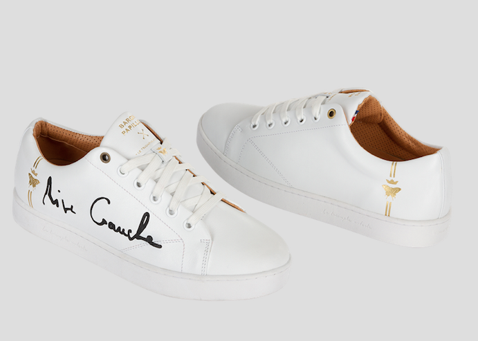 high end sneakers all white  barons papillom rive gauche black signauture
