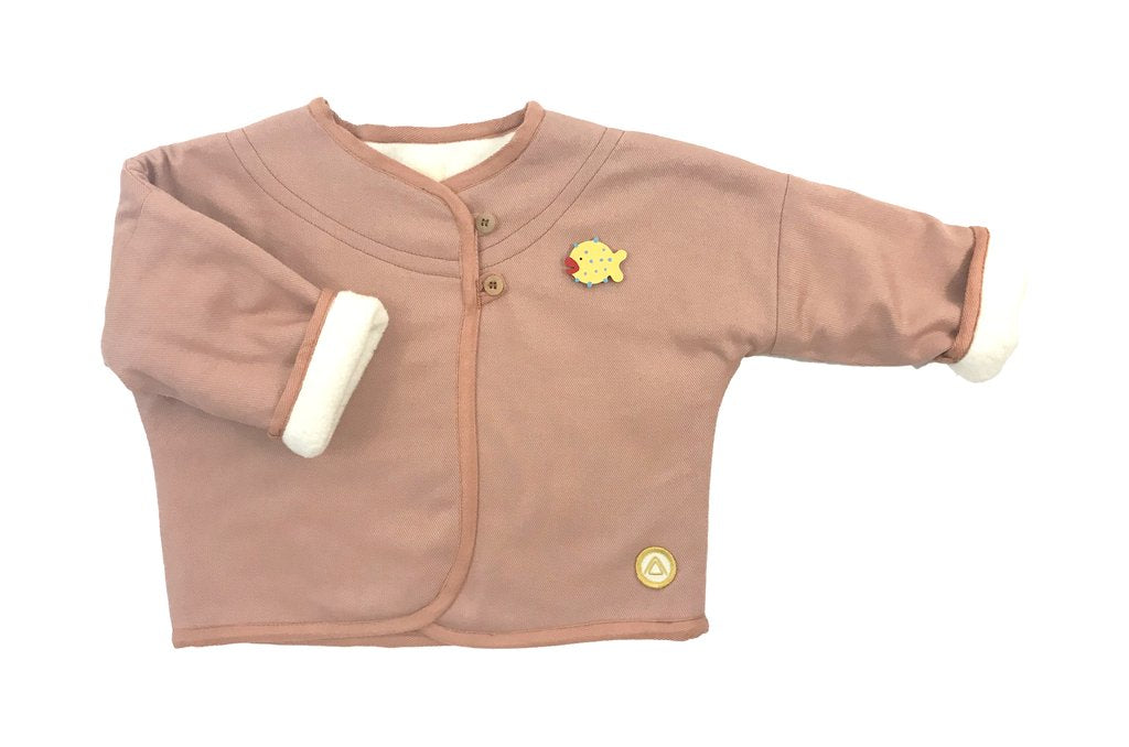 Rose Beige Girls Coat, Maison Frida