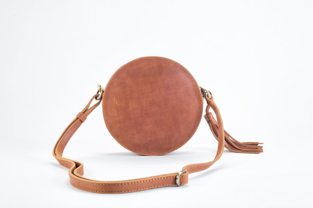 Darling Moon Natural Brown Leather Circle Bag Virginie Darling - Handbag Virginie Darling