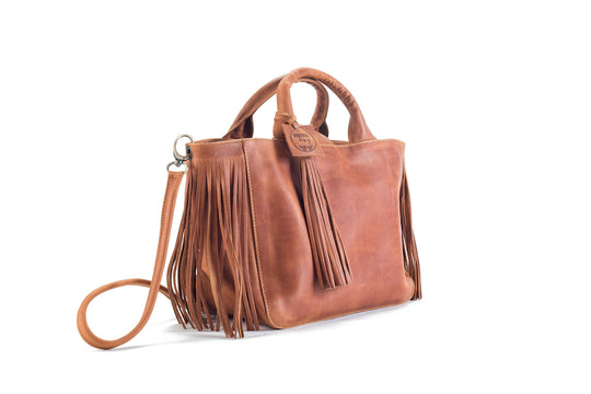 Baby Darling Natural Brown Leather Handbag Virginie Darling - Handbag Virginie Darling