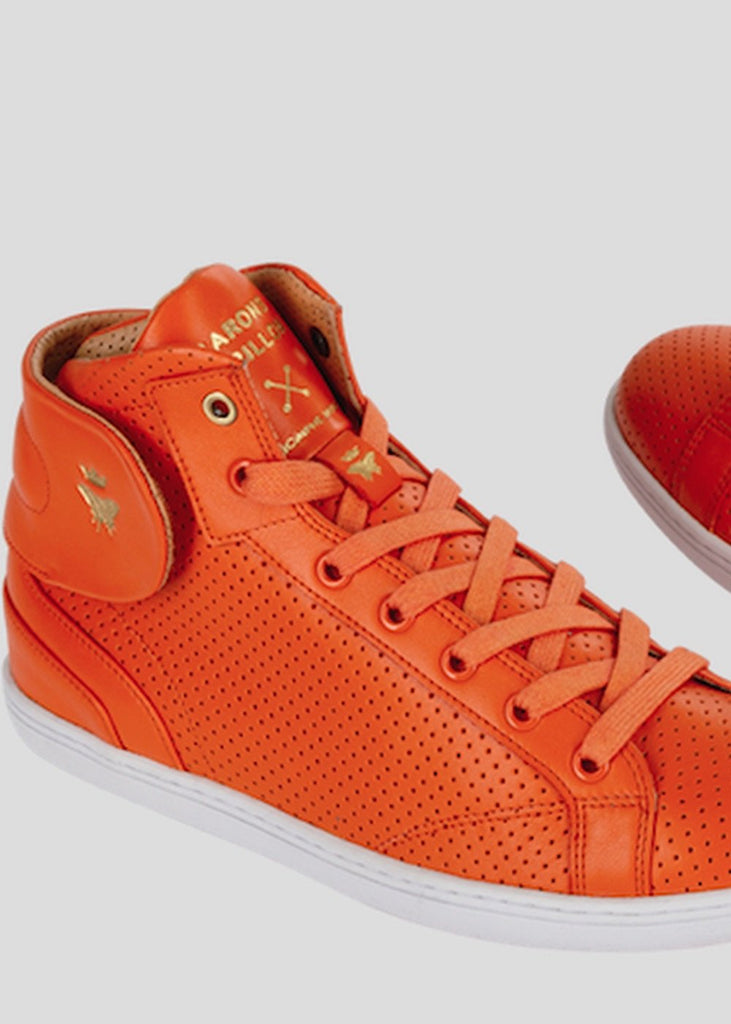 orange sneakers barons papillom punched