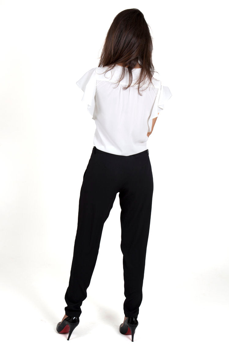 silk pants black