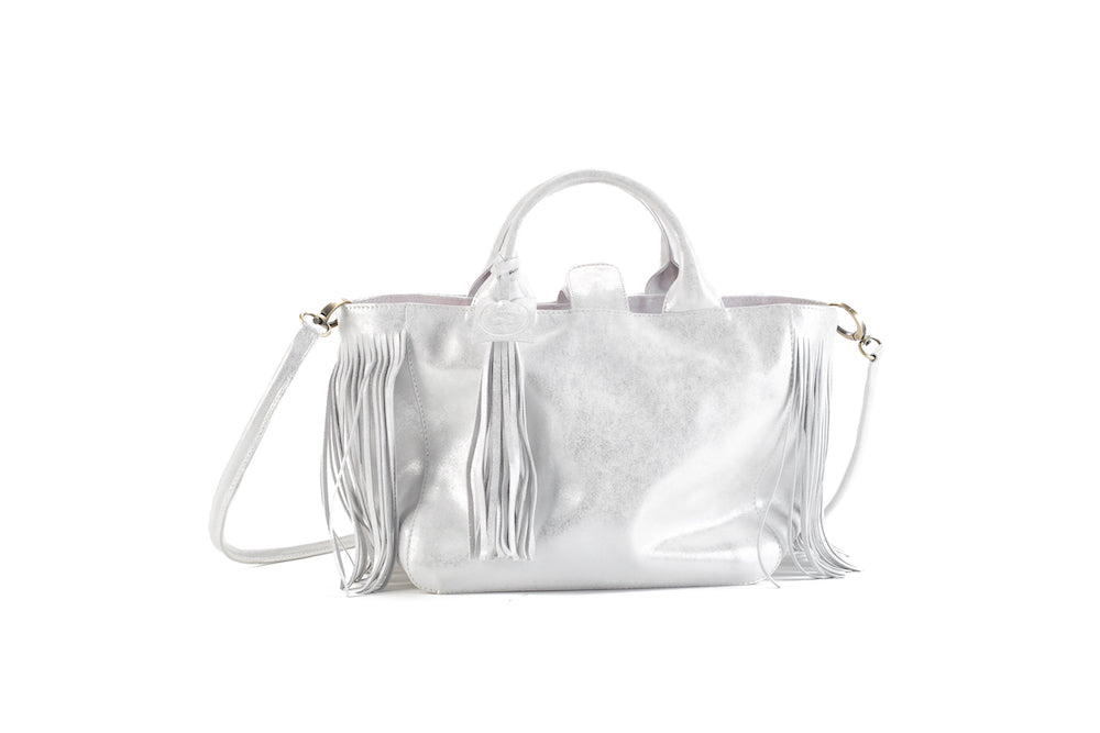 Baby Darling Silver Leather Handbag Virginie Darling - Handbag Virginie Darling