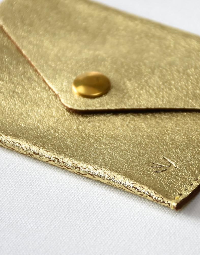 Suzanne Gold Leather Cardholder Maison Jeanne - Cardholder Maison Jeanne