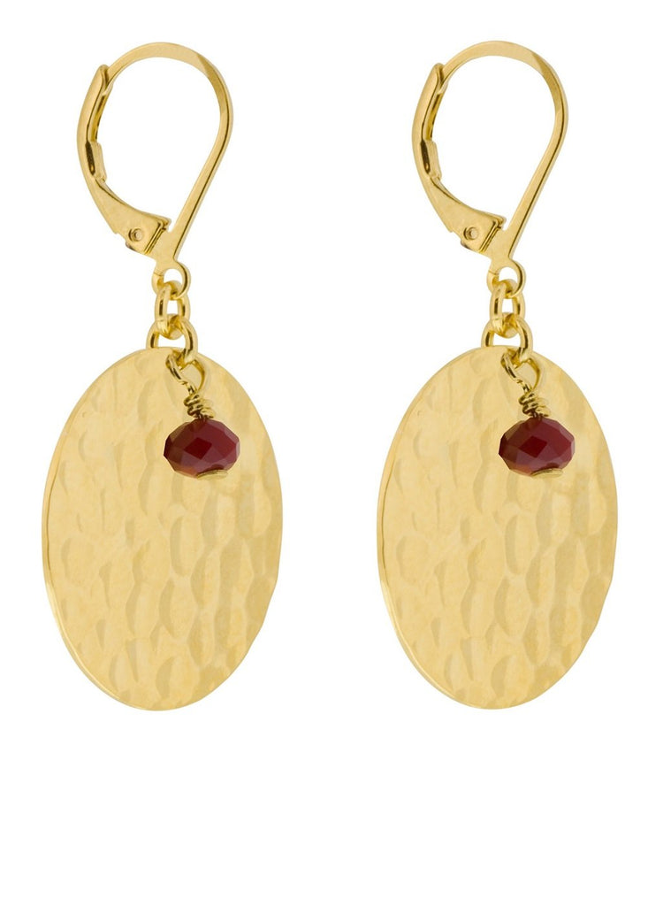Talisman Red Crystal Earrings Lesprit Parisien - Earrings Lesprit Parisien