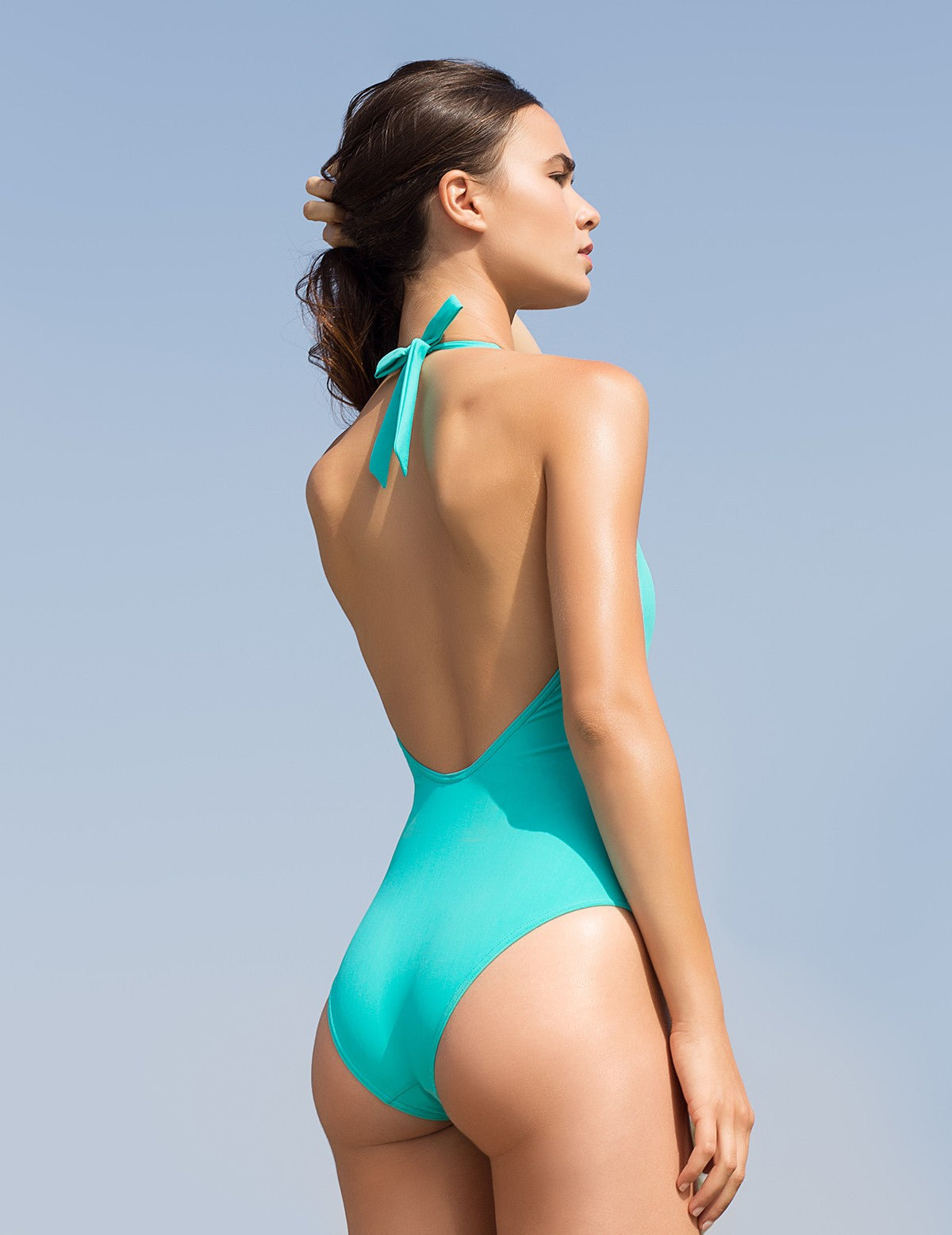 The Aquamarine Backless Swimsuit Statice - Swimsuit Statice