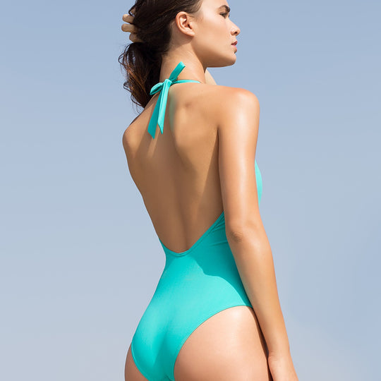 The Aquamarine Backless Swimsuit Statice - Swimsuit
