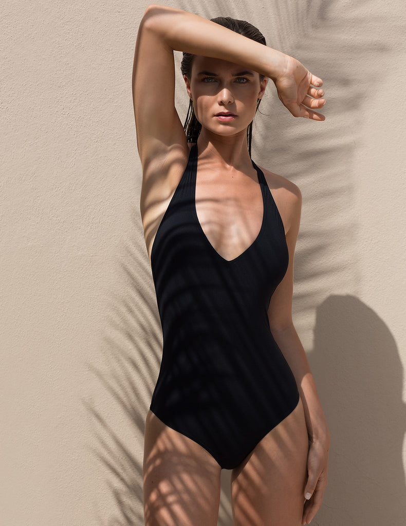 The Black Backless Swimsuit Statice - Swimsuit