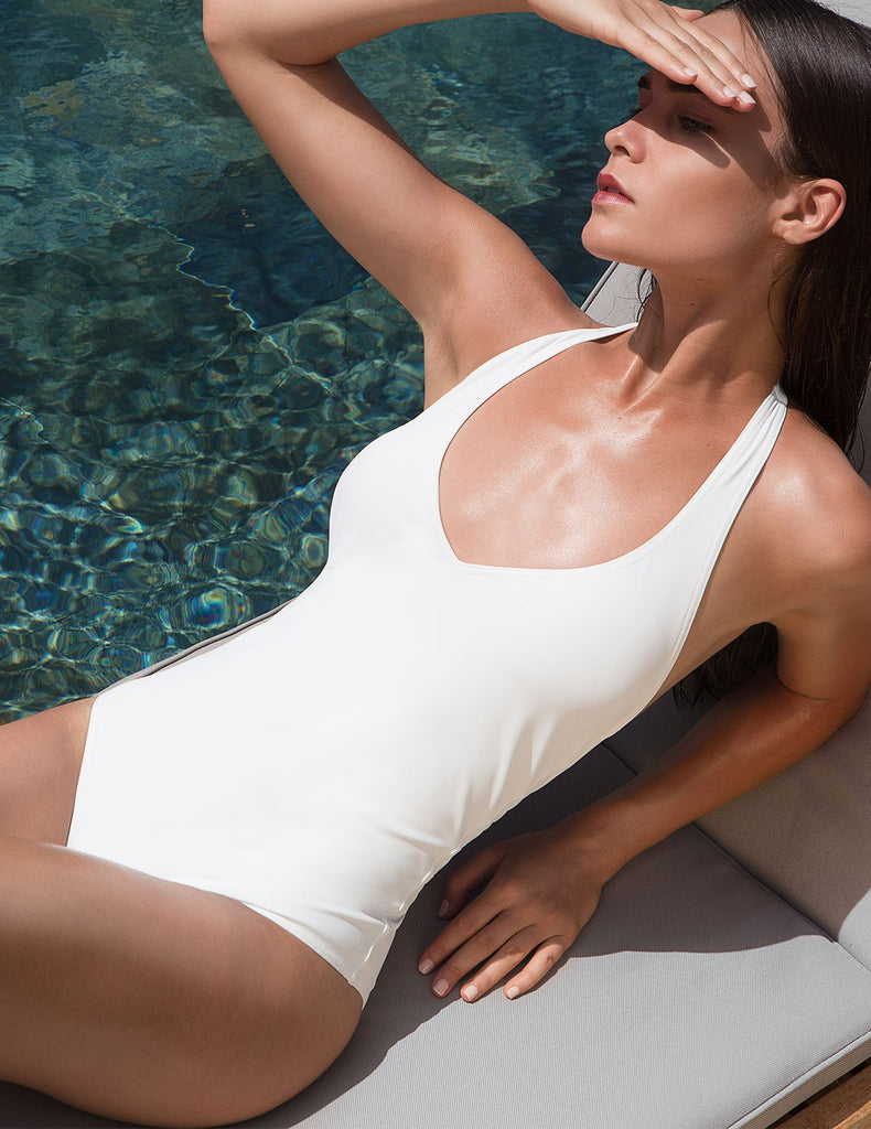 The White Backless Swimsuit Statice - Swimsuit