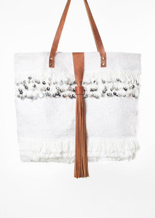 Annie White Velvet Tote Bag Virginie Darling - Tote Bag Virginie Darling