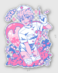 Ouch! Nurse Clear Sticker