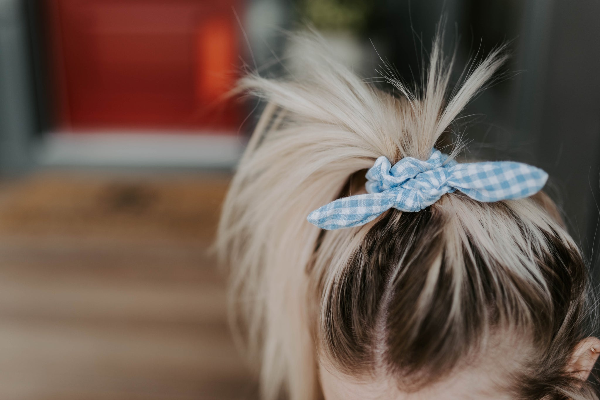 Dorothy blue knot scrunchie - Copper Lake