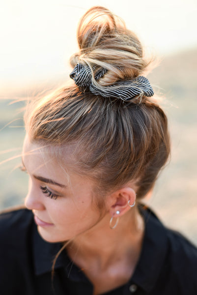 Quinn black striped scrunchie - Copper Lake