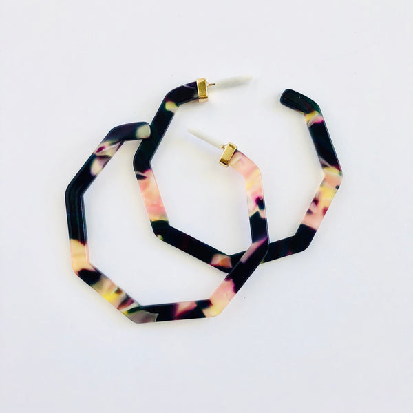 Hex resin hoop earrings