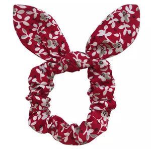 Georgia red floral knot scrunchie