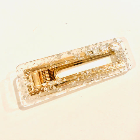 Lola silver glitter rectangle clip