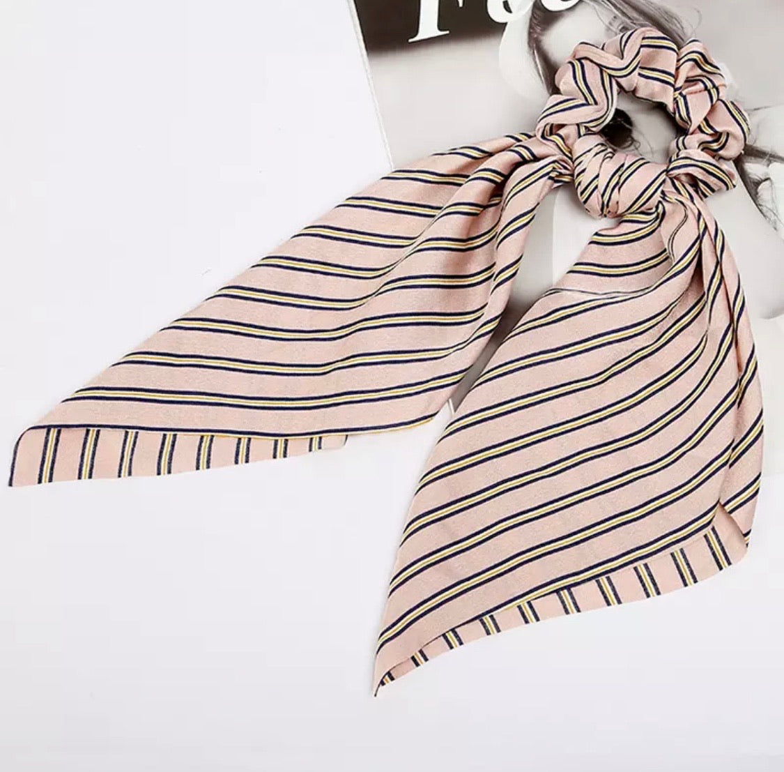 Addie Pink stripe Scarf Scrunchie