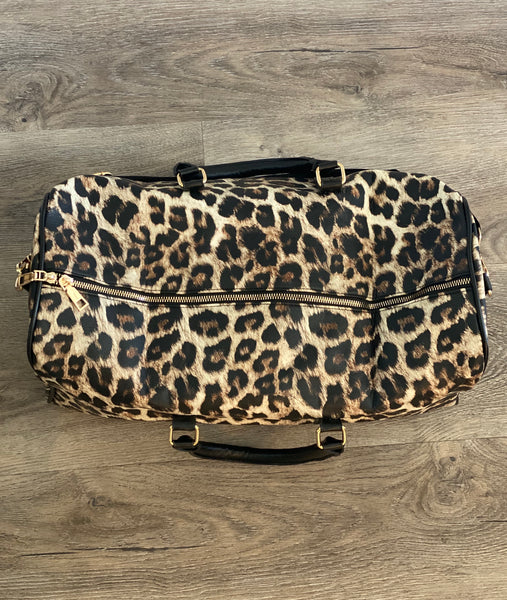 Leopard faux leather overnight bag