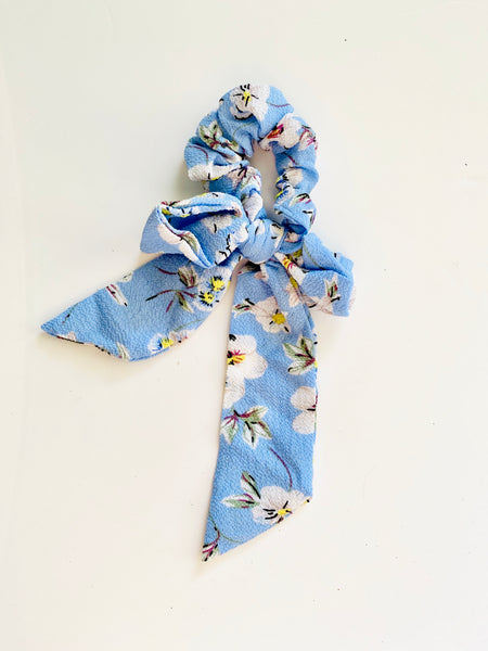 Eden blue Floral bow scrunchie