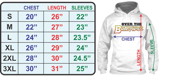 Adult Hoodie Size Chart - Over the Boardwalk Shirts
