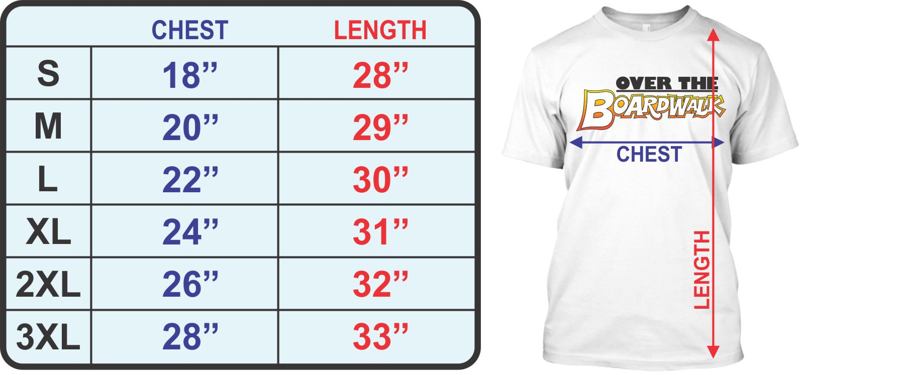 Adult T-shirt Size Chart - Over the Boardwalk Shirts