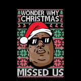 Wonder Why Christmas Missed Us | Biggie Smalls | Ugly Christmas Sweater [Unisex Crewneck Sweatshirt]-Over The Boardwalk Shirts