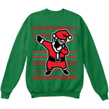 DABBING SANTA | Dabbing Santa Claus | Ugly Christmas Sweater [Unisex Crewneck Sweatshirt]-Crewneck Sweater (Unisex)-Green-Small-Over The Boardwalk Shirts