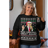 Donald Trump | Make Christmas Great Again | Ugly Christmas Sweater [Unisex Crewneck Sweatshirt]-Over The Boardwalk Shirts