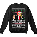 Donald Trump | Make Christmas Great Again | Ugly Christmas Sweater [Unisex Crewneck Sweatshirt]-Crewneck Sweater (Unisex)-Black-Small-Over The Boardwalk Shirts