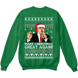 Donald Trump | Make Christmas Great Again | Ugly Christmas Sweater [Unisex Crewneck Sweatshirt]-Crewneck Sweater (Unisex)-Green-Small-Over The Boardwalk Shirts