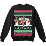 Drunk Friends Logo Parody | Santa,Jesus,Snowman,Reindeer | Ugly Christmas Sweater [Unisex Crewneck Sweatshirt]-Crewneck Sweater (Unisex)-Black-Small-Over The Boardwalk Shirts
