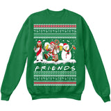 Drunk Friends Logo Parody | Santa,Jesus,Snowman,Reindeer | Ugly Christmas Sweater [Unisex Crewneck Sweatshirt]-Crewneck Sweater (Unisex)-Green-Small-Over The Boardwalk Shirts
