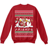 Drunk Friends Logo Parody | Santa,Jesus,Snowman,Reindeer | Ugly Christmas Sweater [Unisex Crewneck Sweatshirt]-Crewneck Sweater (Unisex)-Red-Small-Over The Boardwalk Shirts