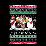 Drunk Friends Logo Parody | Santa,Jesus,Snowman,Reindeer | Ugly Christmas Sweater [Unisex Crewneck Sweatshirt]-Over The Boardwalk Shirts
