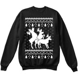 HUMPING REINDEERS | Humping Deers | Ugly Christmas Sweater [Unisex Crewneck Sweatshirt]-Crewneck Sweater (Unisex)-Black-Small-Over The Boardwalk Shirts