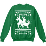 HUMPING REINDEERS | Humping Deers | Ugly Christmas Sweater [Unisex Crewneck Sweatshirt]-Crewneck Sweater (Unisex)-Green-Small-Over The Boardwalk Shirts