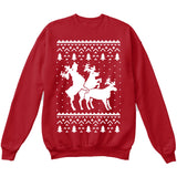 HUMPING REINDEERS | Humping Deers | Ugly Christmas Sweater [Unisex Crewneck Sweatshirt]-Crewneck Sweater (Unisex)-Red-Small-Over The Boardwalk Shirts