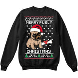 Merry Pugly Christmas | Pug Life | Ugly Christmas Sweater [Unisex Crewneck Sweatshirt]-Crewneck Sweater (Unisex)-Black-Small-Over The Boardwalk Shirts