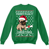 Merry Pugly Christmas | Pug Life | Ugly Christmas Sweater [Unisex Crewneck Sweatshirt]-Crewneck Sweater (Unisex)-Green-Small-Over The Boardwalk Shirts