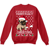 Merry Pugly Christmas | Pug Life | Ugly Christmas Sweater [Unisex Crewneck Sweatshirt]-Crewneck Sweater (Unisex)-Red-Small-Over The Boardwalk Shirts