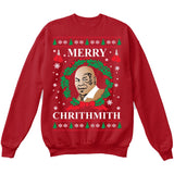 Merry Chrithmith | Mike Tyson | Ugly Christmas Sweater [Unisex Crewneck Sweatshirt]-Crewneck Sweater (Unisex)-Red-Small-Over The Boardwalk Shirts