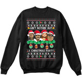 Rappers Rap Legends | Ain't Nothin But A Christmas Party | Tupac Biggie | Ugly Christmas Sweater [Unisex Crewneck Sweatshirt]-Crewneck Sweater (Unisex)-Black-Small-Over The Boardwalk Shirts
