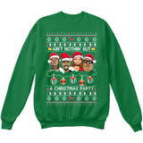 Rappers Rap Legends | Ain't Nothin But A Christmas Party | Tupac Biggie | Ugly Christmas Sweater [Unisex Crewneck Sweatshirt]-Crewneck Sweater (Unisex)-Green-Small-Over The Boardwalk Shirts